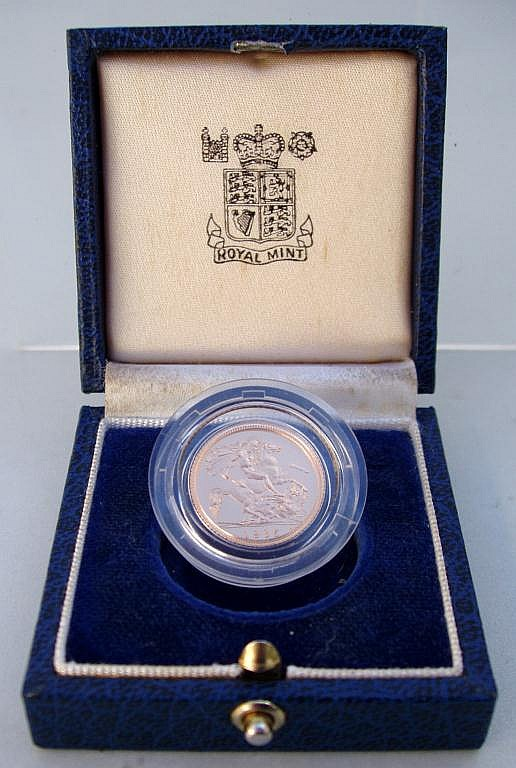 1985 UK PROOF HALF SOVEREIGN GOLD COIN