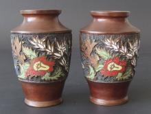 PAIR OF JAPANESE BRONZE CHAMPLEVE VASES