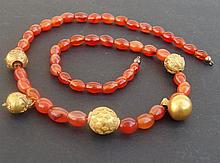 ANCIENT EGYPTIAN CARNELIAN & GOLD NECKLACE