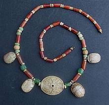 EGYPTIAN SCARAB NECKLACE Mid-New Kingdom