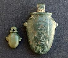 TWO EGYPTIAN HEART AMULETS New Kingdom