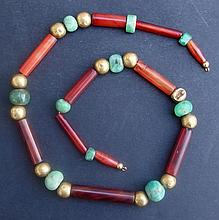 CARNELIAN & GOLD BEADED NECKLACE  Early Dynasty