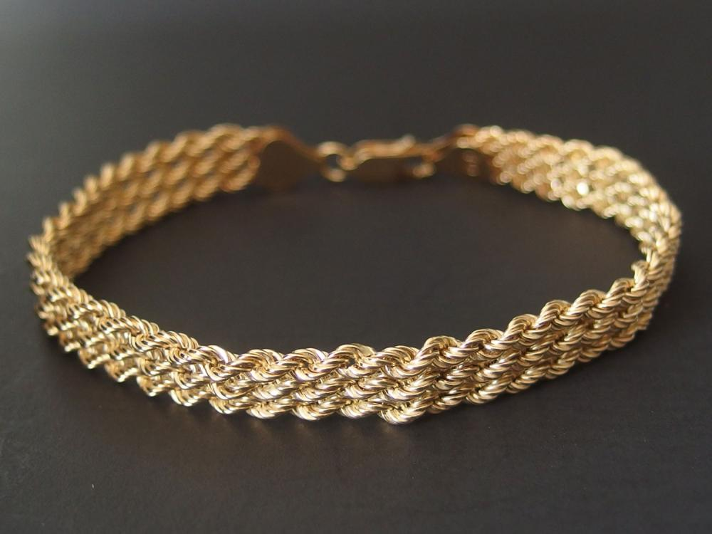14KT GOLD ROPE CHAIN BRACELET