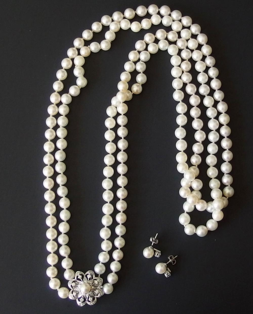 14KT GOLD DIAMOND PEARL NECKLACE EARRING SET
