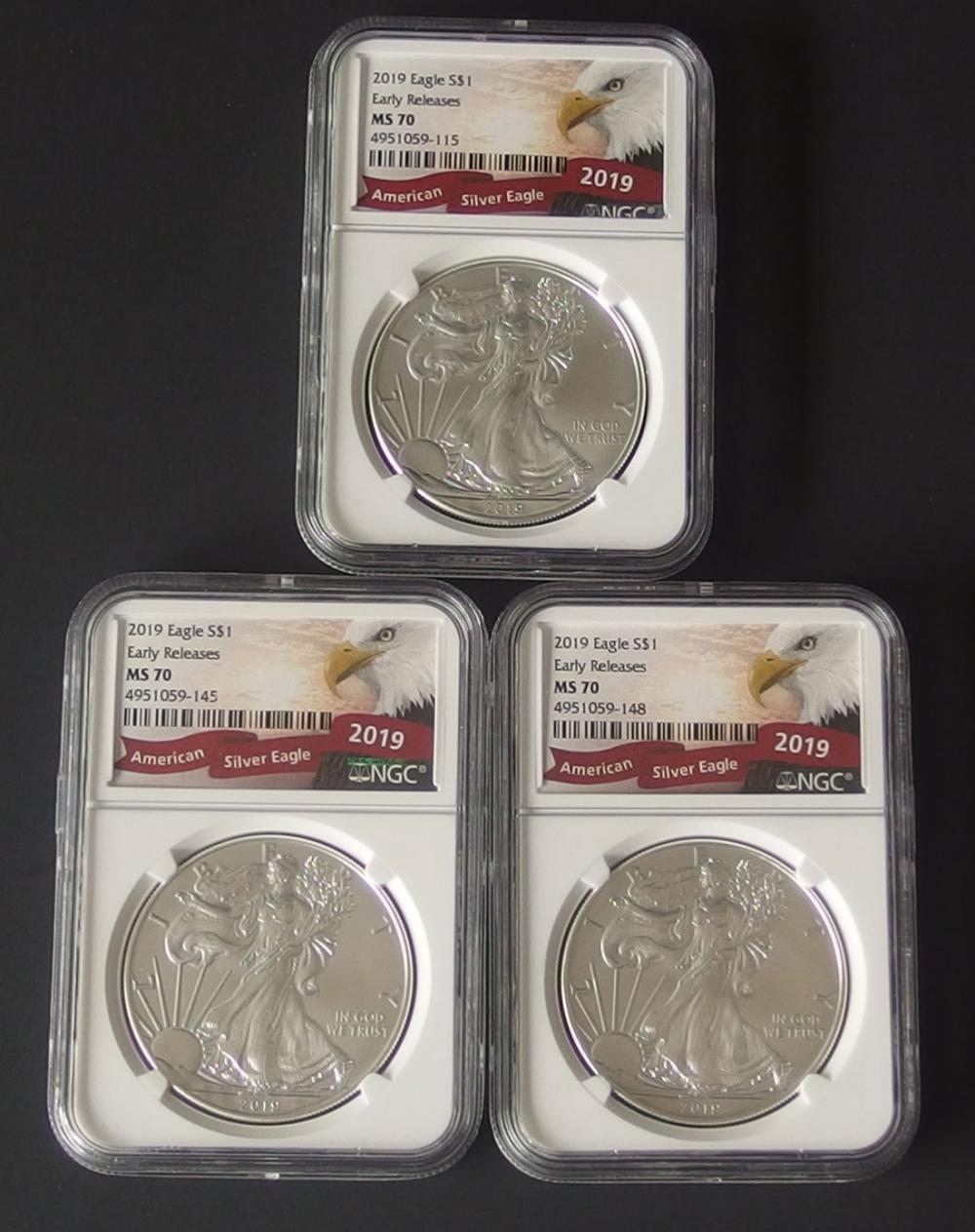 2019 NGC MS70 AMERICAN SILVER EAGLE COINS (3)