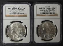 2 x 1884-O NGC BU OLATHE HOARD SILVER DOLLAR COINS