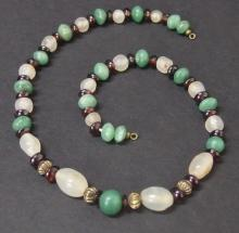 EGYPTIAN GARNET & QUARTZ BEADED NECKLACE Late Period