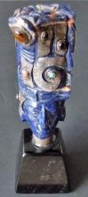 MEXICAN LAPIS & STERLING AZTEC HEAD SCULPTURE