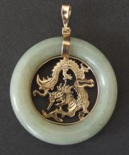 CHINESE 14KT GOLD & JADE PENDANT