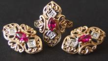 10KT GOLD RUBY & DIAMOND RING / EARRING SET