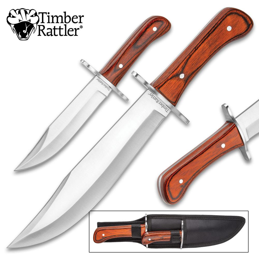 Lot 208: New Timber Rattler Durango Bowie Knife Set With Sheath - Stainless Steel Full-Tang Blades, Wooden Handles, Stainless Steel Guards