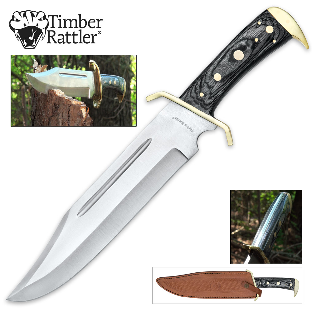 "Lot 211: New Timber Rattler Western Outlaw Full Tang Bowie Knife With Leather Sheath -Brass Plated Guard, Hardwood Handle - 11 3/8"" Length"