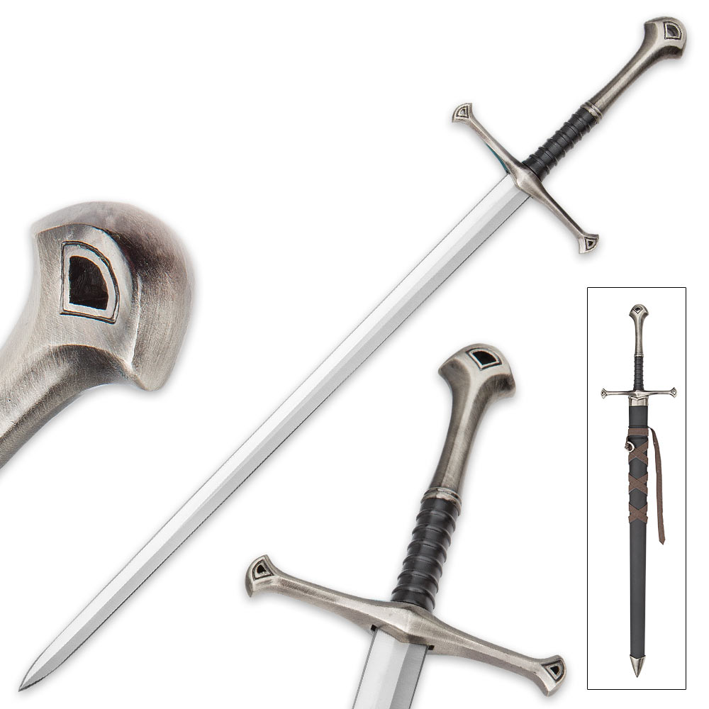 "Lot 221: Middle Ages Warrior Short Broadsword With Black Sheath - Double-Edged Sharp Blade - 22 1/2"" Length"