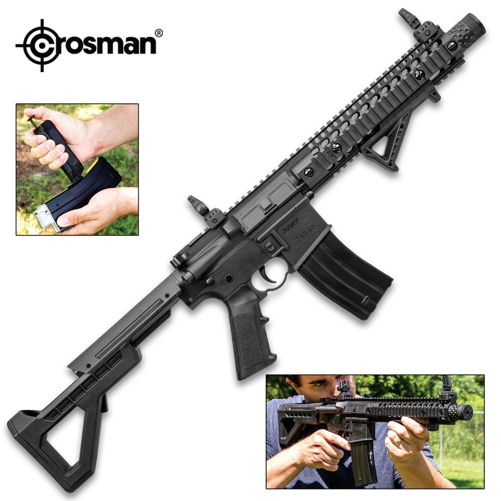 Crosman DPMS SBR Full Automatic Air Rifle - Nylon Fiber Stock, Steel Barrel, Quail Rail, Blowback, Folding BUIS Sights, 430 FPS