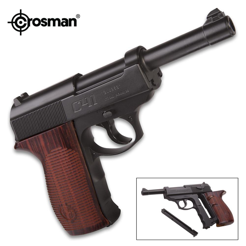 Crosman Semi-Automatic CO2 Powered BB Pistol - Metal Alloy Barrel, Hardwood Stock, 18-Round Magazine, Rear And Front Sights