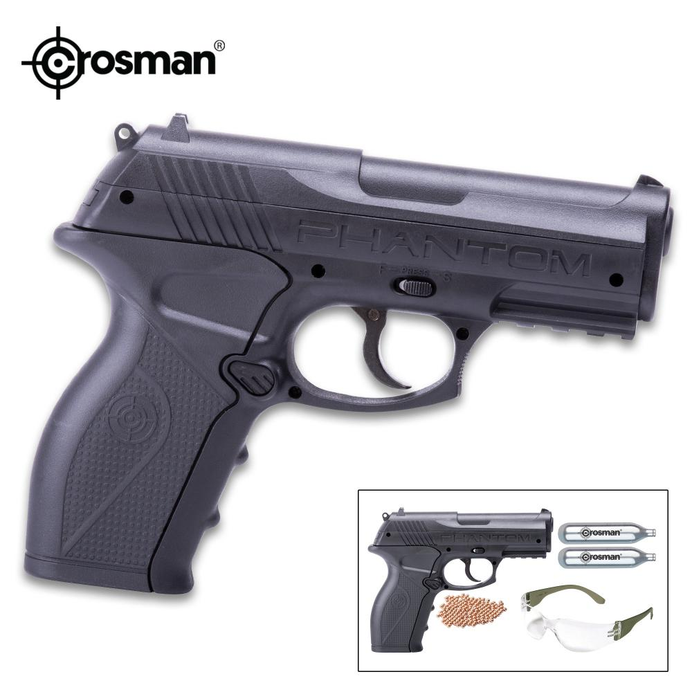 Crosman Phantom Kit CO2 Powered Air Pistol - Polymer Frame, Precision Steel Barrel, Picatinny Rail, BBs And CO2 Cartridges Included