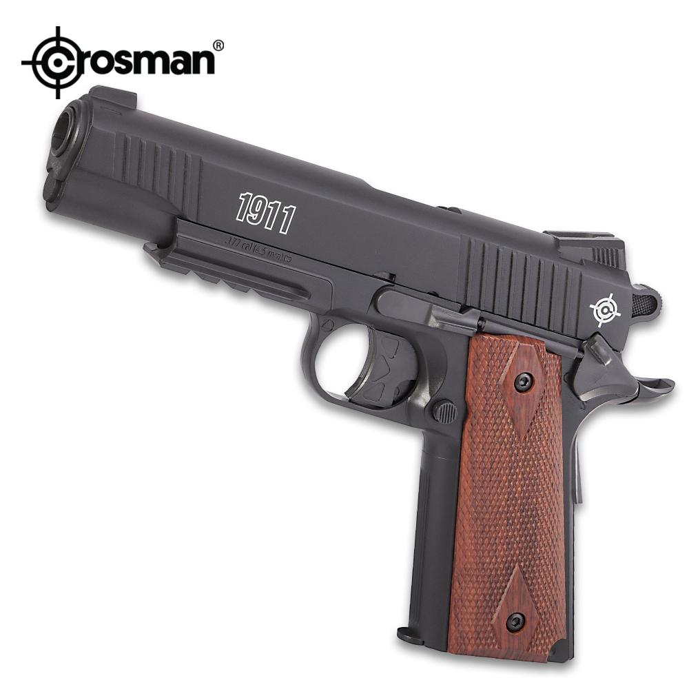 Lot 35: Crosman 1911 CO2 Powered Air Pistol - Realistic Blowback, Steel Barrel, Polymer Stock, Wooden Grips, Six-Shot Rotary Clips