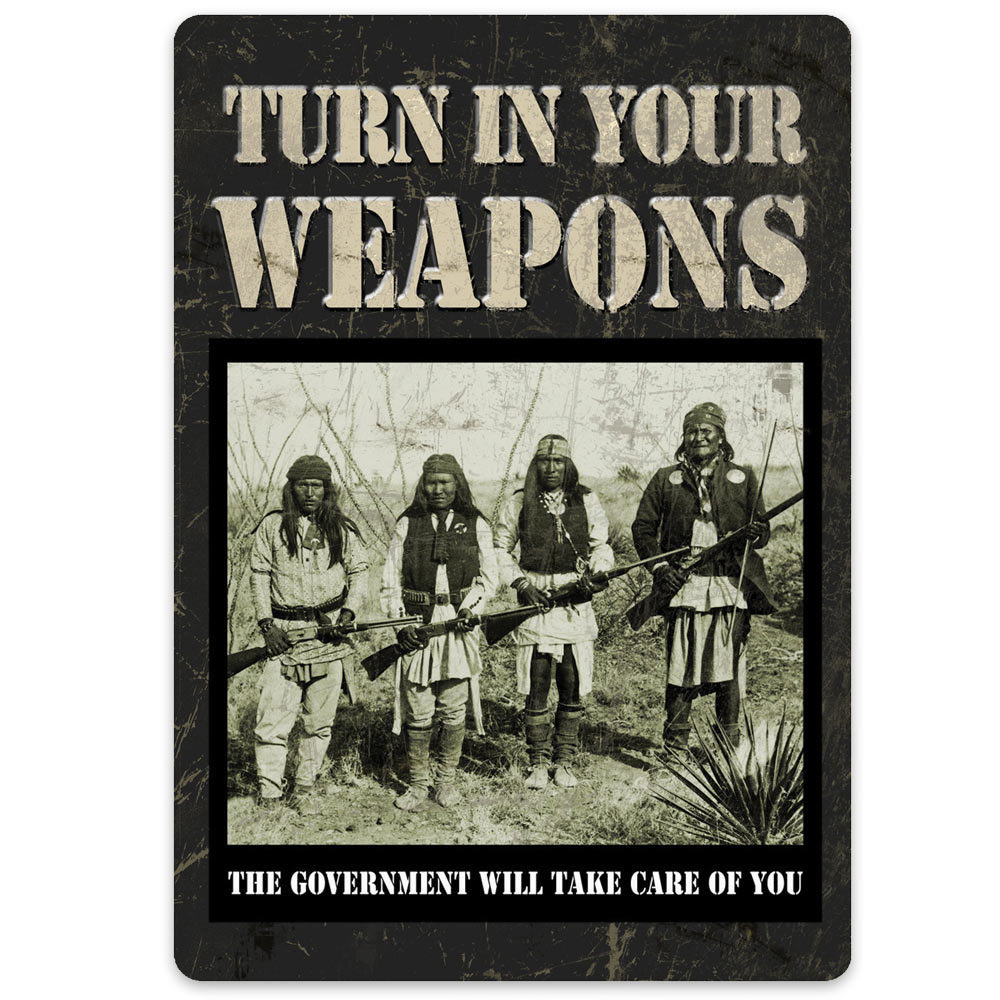 Lot 38: Turn In Your Weapons Tin Sign