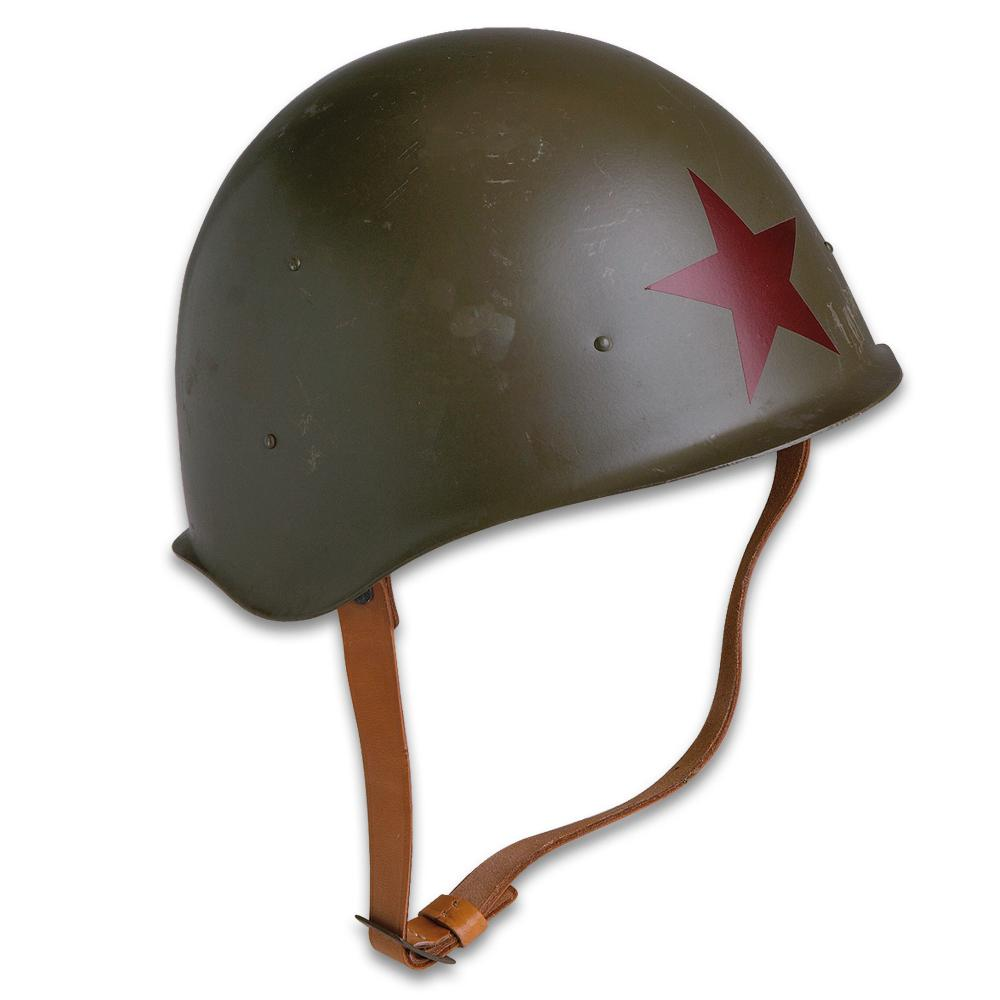 Lot 40: Genuine Soviet Russia / Red Army M52 Helmet - World War II Style Military Surplus - Steel Pot; Red Star; Leather Suspension, Chin Strap - Military History Collections Display Tactical Costume - USED