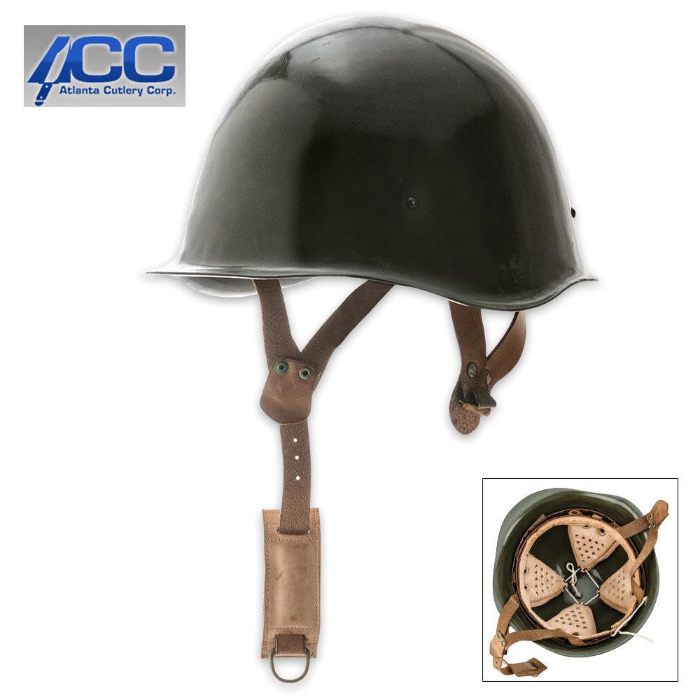 WWII Era Design Hungarian War Helmet - Solid Steel Construction, Leather Lining, Adjustable Leather Straps
