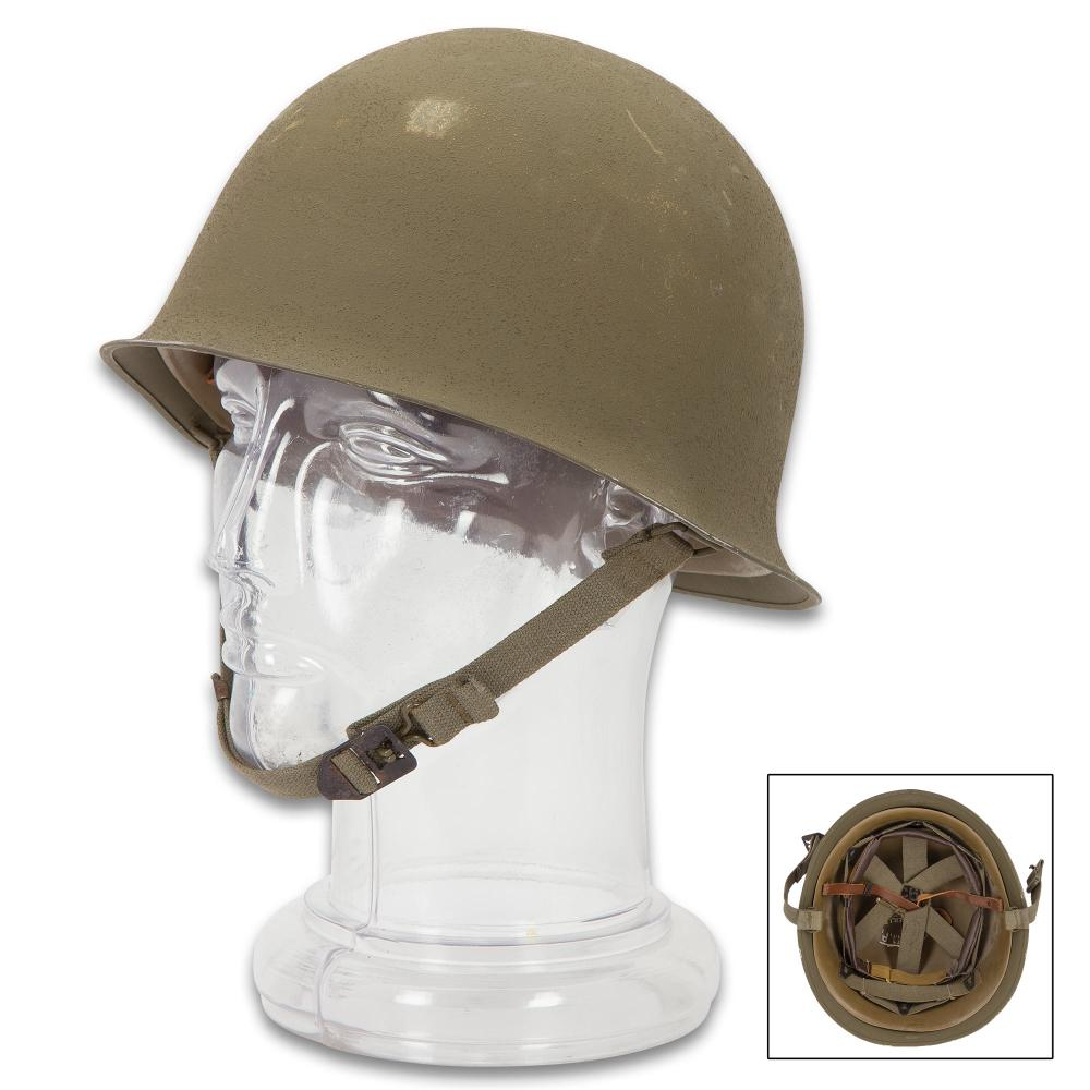 Lot 43: French Army M51 Helmet - Genuine Military Surplus, Standard Troop Issue - Steel Pot Style; OD Green; Molded Inner Liner; Adjustable Headband, Chin Strap - Post WWII Era, Used / Excellent Condition