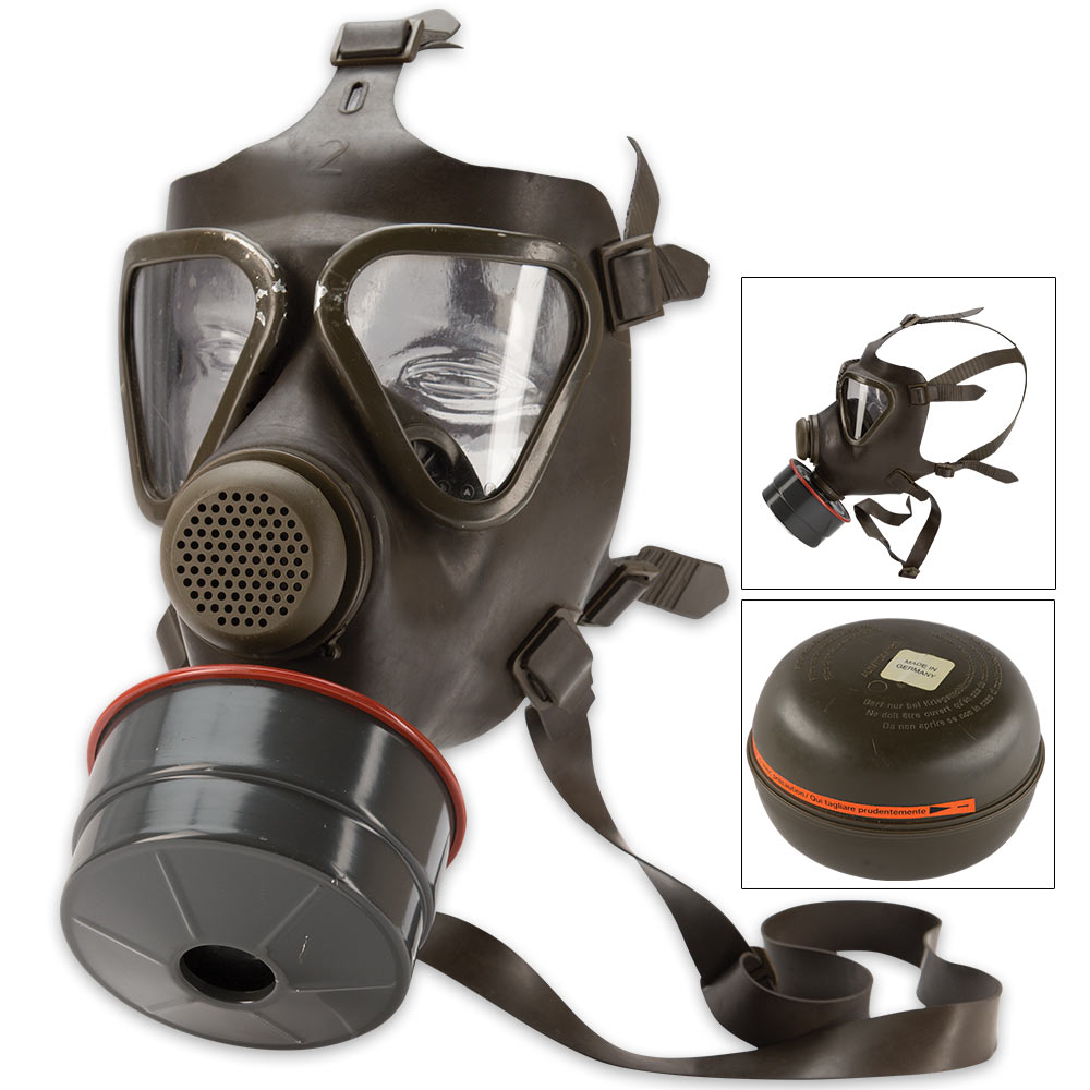 Lot 46: German M65 Gas Mask With Filter - Like-New