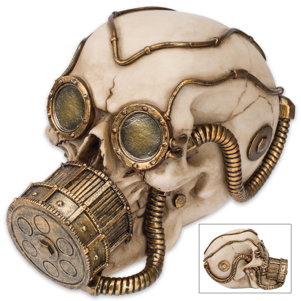 "Steampunk Gas Mask Skull Sculpture - ""Volataire M. Chemskul, Warden of the Vaporworks"""