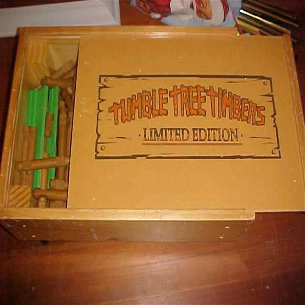 Lot 302: Vintage Tumble Tree Timbers Complete Set in Pull Along Wagon