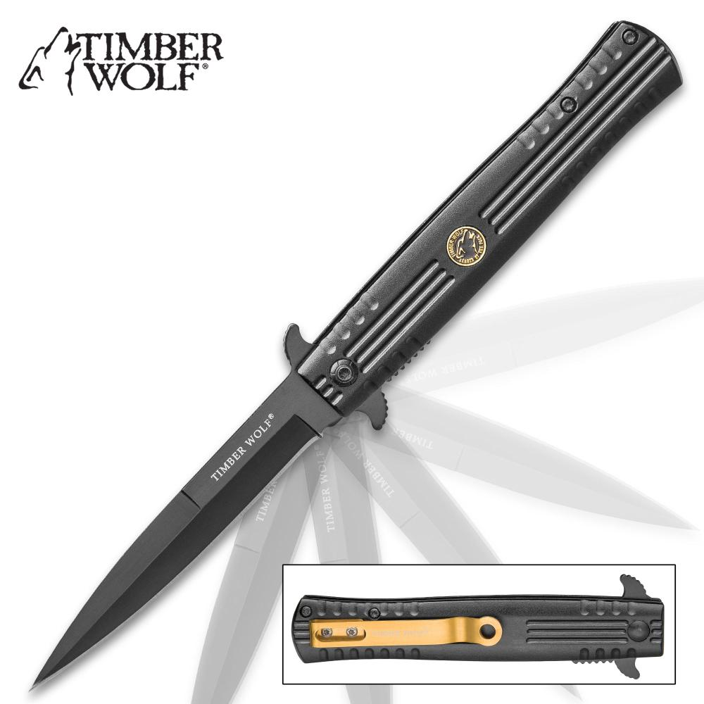 Timber Wolf Covert Operation Stiletto Knife - Black Stainless Steel Blade, Ridged Aluminum Handle, Assisted Opening, Pocket Clip