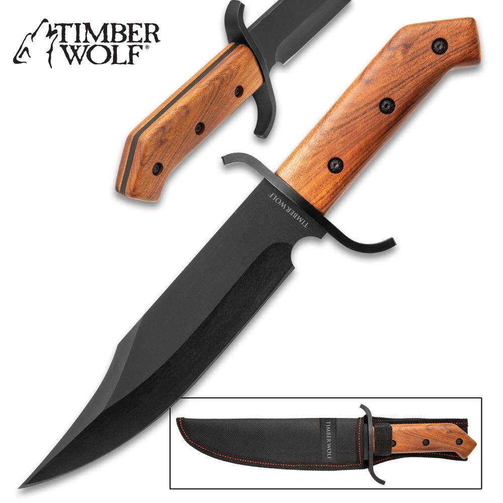 Lot 303: Timber Wolf ClaimStaker Bowie Knife And Sheath - 3Cr13 Stainless Steel Black Blade, Full-Tang, Wooden Handle - Length 12 1/2""