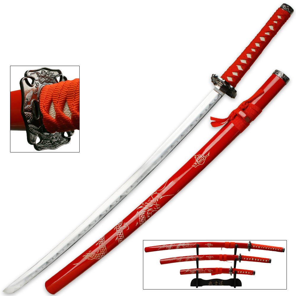 Lot 312: Red Dragon Three Piece Imperial Samurai Sword Collection With Stand