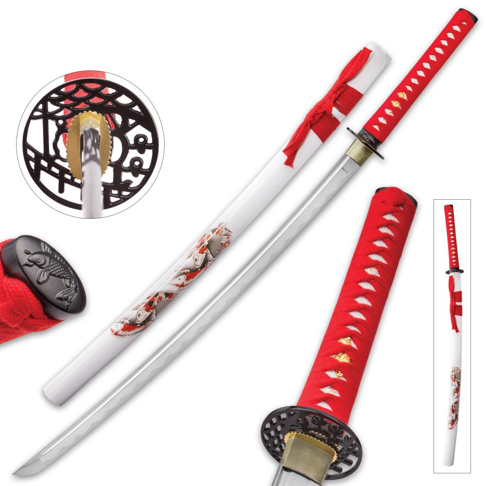 """Kijiro Koi Fish Katana And Scabbard - High Carbon Steel Blade, Traditional Cord-Wrapped Handle, Scabbard Has Detailed Design - Length 38 3/4"""""""