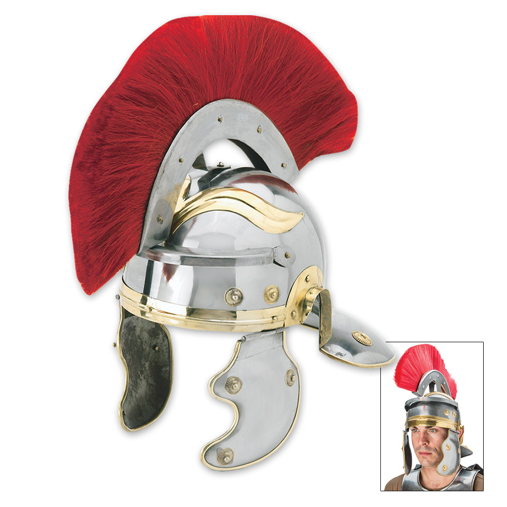 Lot 319: Roman Centurion Helmet With Red Horse Hair Crest