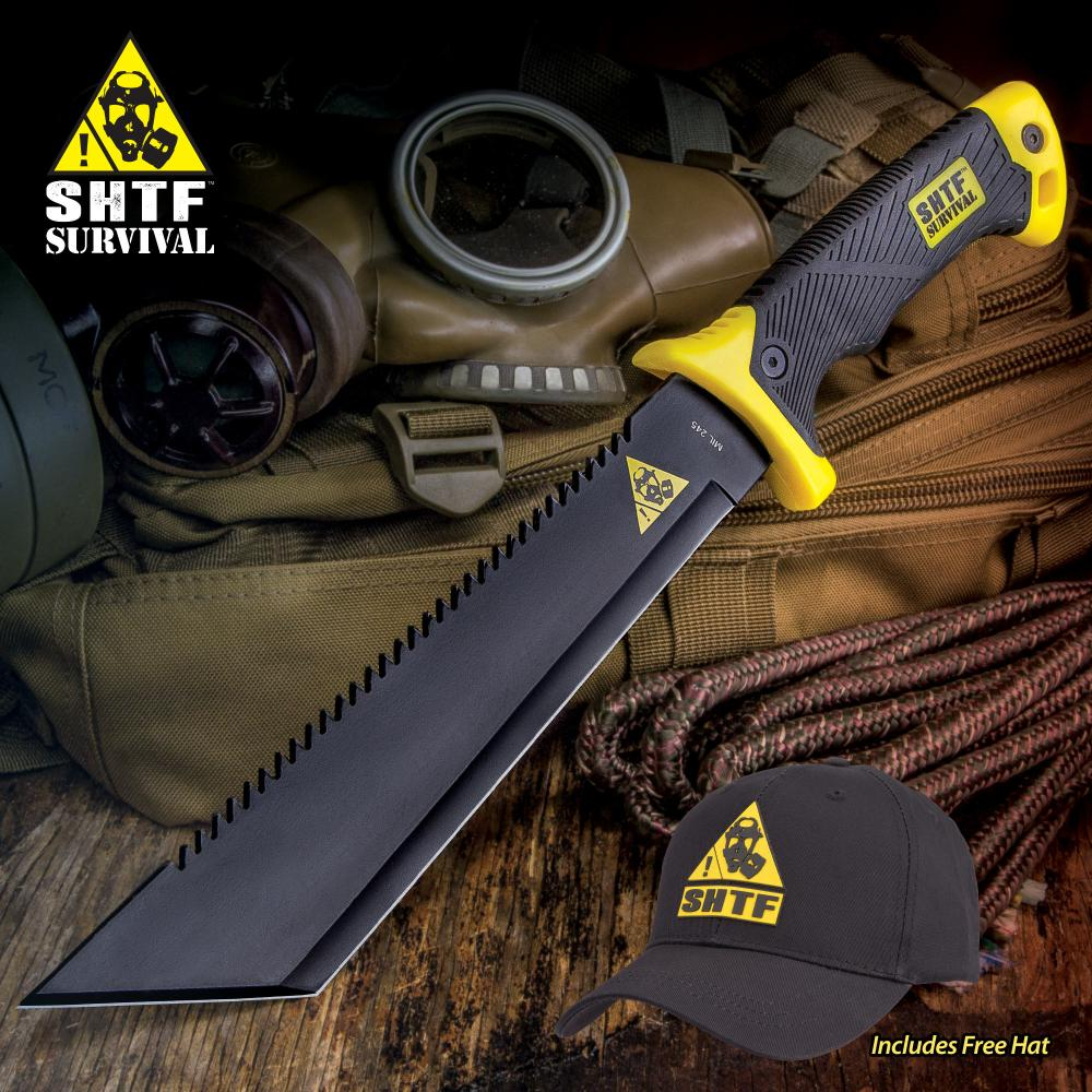 """SHTF Jungle Hunter Tanto Machete With Free Hat - Stainless Steel Blade, Rubberized Handle - Length 15 3/4"""""""