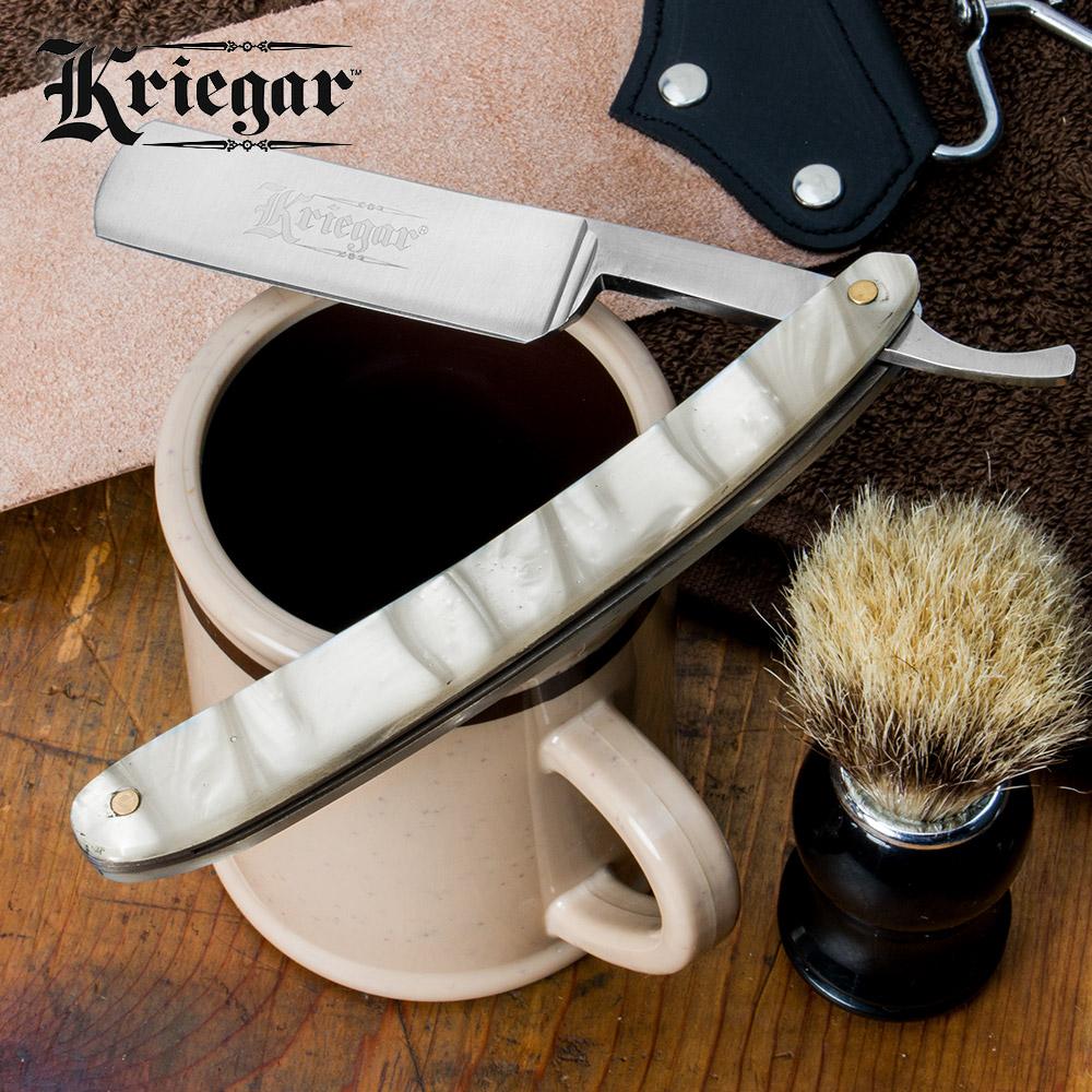 Kriegar German Style Pearl Handle Straight Razor Folding Knife
