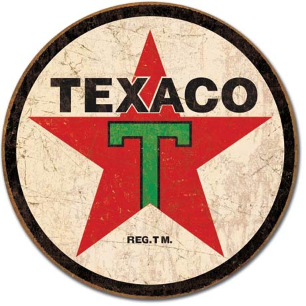 """Lot 100: TIN SIGN Texaco '36 ROUND 11.75"""" Dia."""