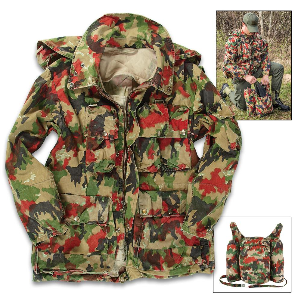 Lot 111: Swiss Army M70 Field Jacket / Coat with Rucksack / Backpack - Genuine Military Surplus; Used, Excellent Condition - Swiss Camo; Cotton / Polyester; Numerous Pockets - Camping Outdoors Tactical Size 1XL