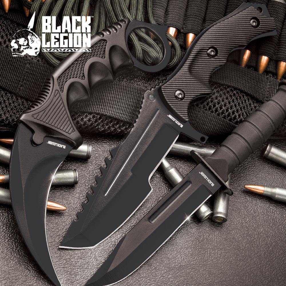 Black Legion Midnight Black Triple Set - Karambit / Mini Huntsman / Military Fixed Blade
