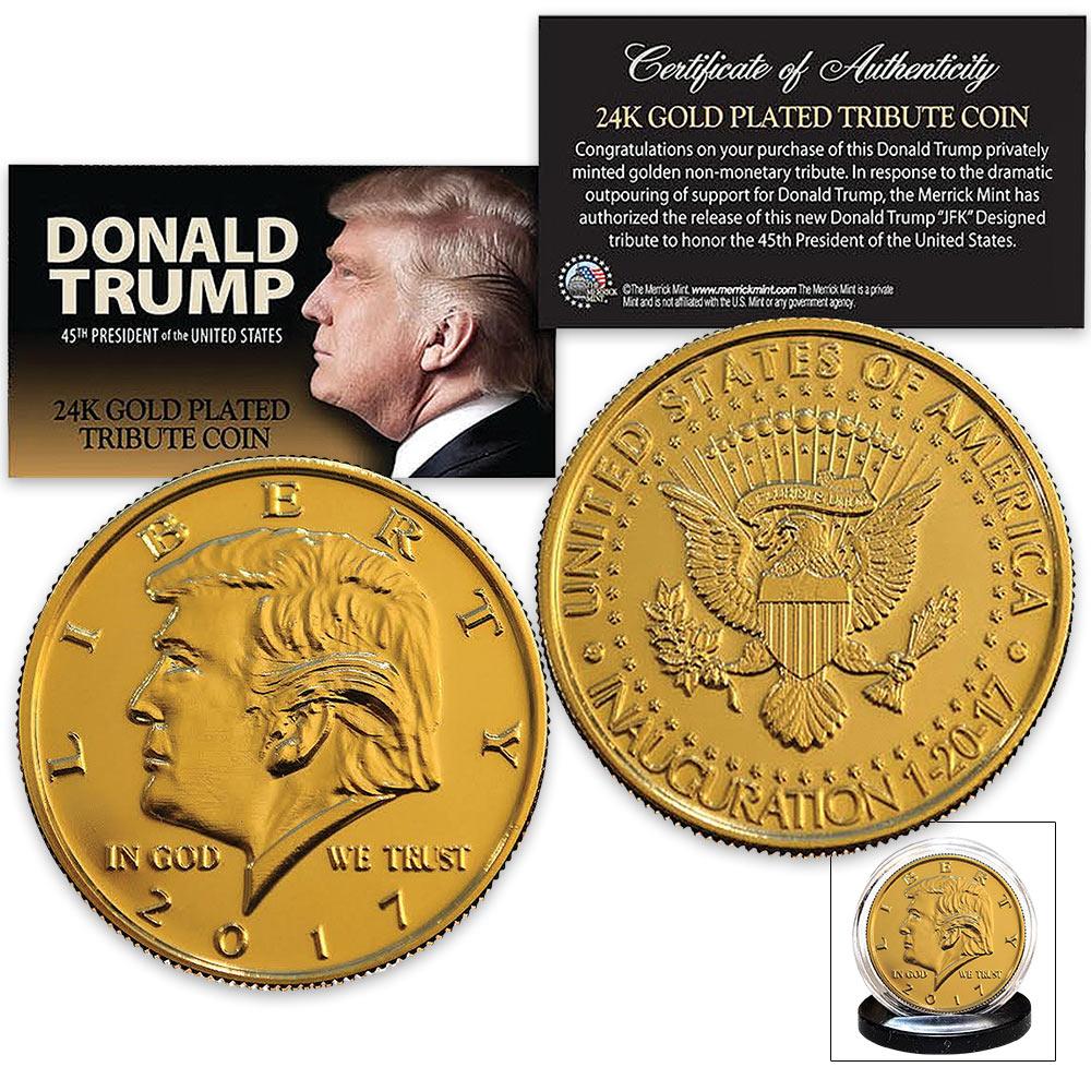 Lot 114: Donald Trump 2017 Inauguration Tribute Coin | Clad in 24K Gold | Mimics JFK Half Dollar