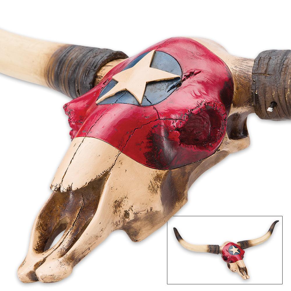 """Lone Star Bull,"" Texas Flag Longhorn Skull Plaque"