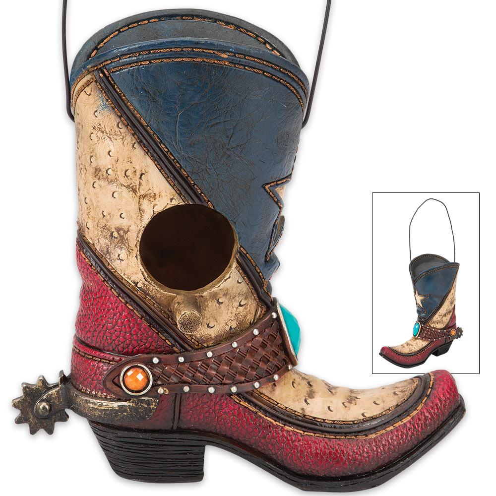 Lot 117: Texas Cowboy Boot Birdhouse