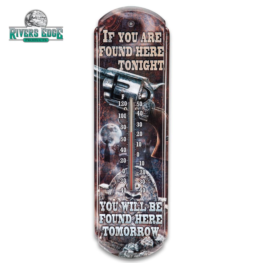 """Lot 119: Found Here Tonight Tin Thermometer - Licensed Artwork, Four-Color Process, Weather-Proof, Indoor/Outdoor - 5""""X17"""""""