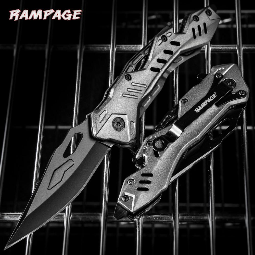 """Rampage Grey Atomica Assisted Opening Pocket Knife - Stainless Steel Blade, Aluminum Handle, Bottle Opener, Pocket Clip - Closed 4 3/4"""""""