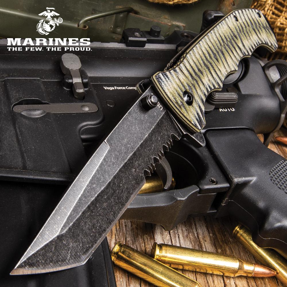 Lot 341: USMC Fallout Assisted Opening Tanto Pocket Knife - 3Cr13 Steel Blade, Grippy G10 Handle, Assisted Opening, Pocket Clip