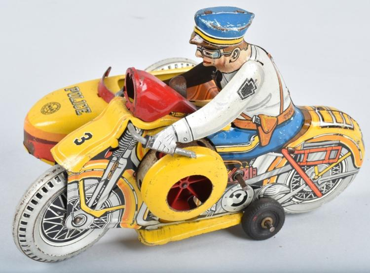 MARX Tin Windup SIREN MOTORCYCLE w/ SIDECAR