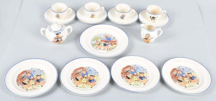 1930s Patriot China 3 LITTLE PIGS TEA SET