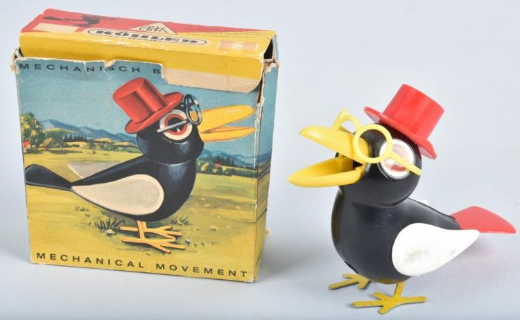 GNK Windup BIRD WITH GLASSES & HAT w/ BOX