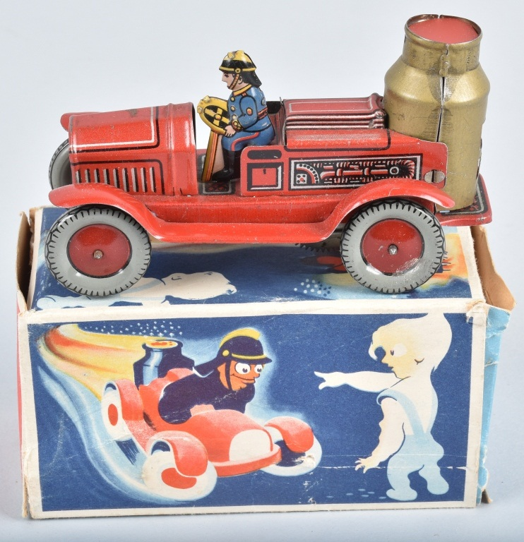 ARNOLD Tin Windup BOILER FIRE TRUCK w/ BOX