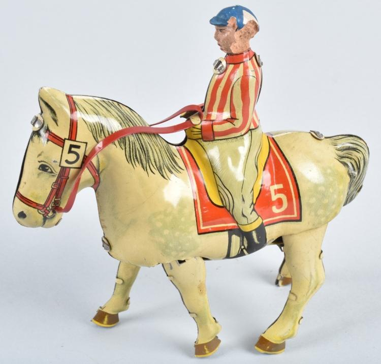 B&S US ZONE GERMANY Tin Windup JOCKEY & HORSE