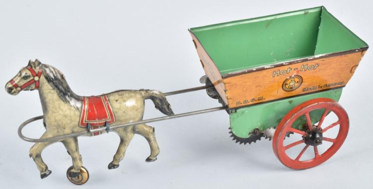 HANS EBERL Tin Windup HOT-HOT HORSE CART
